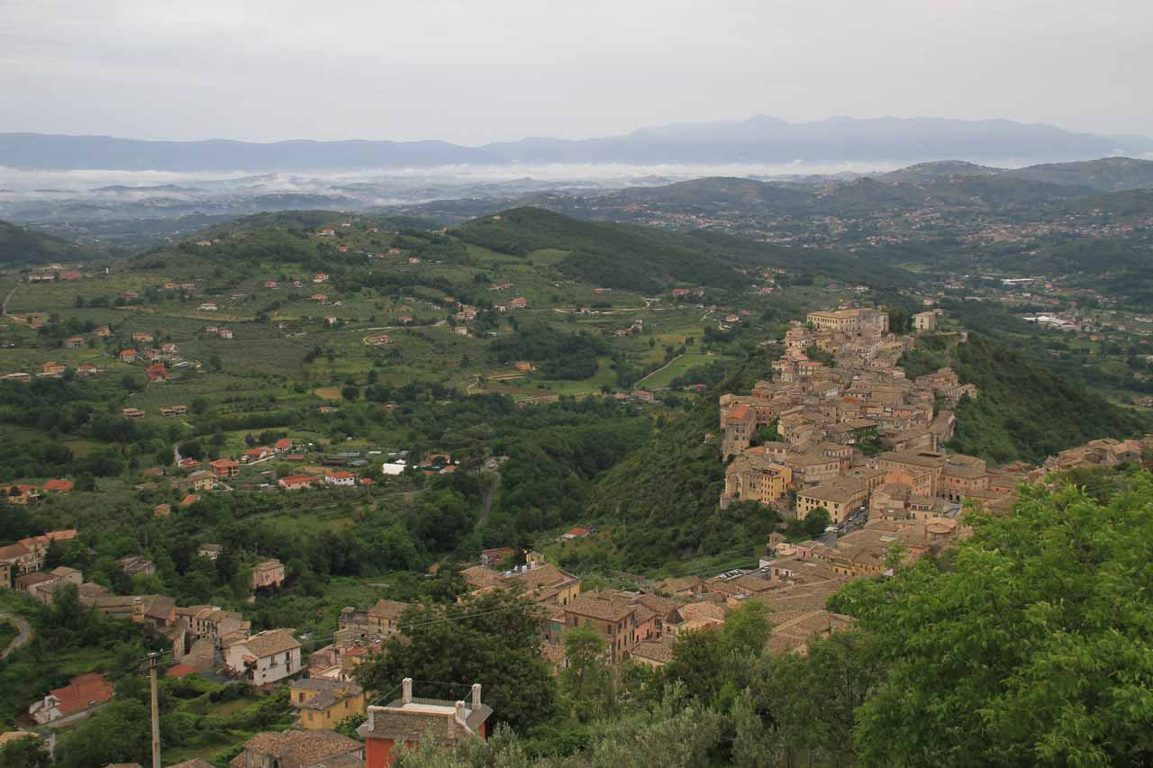 This was the panorama from the Acropoli di Civitavecchia d'Arpino with the town of Arpino (where we stayed) below on the right and Isola del Liri way in the distance amongst the low-lying clouds