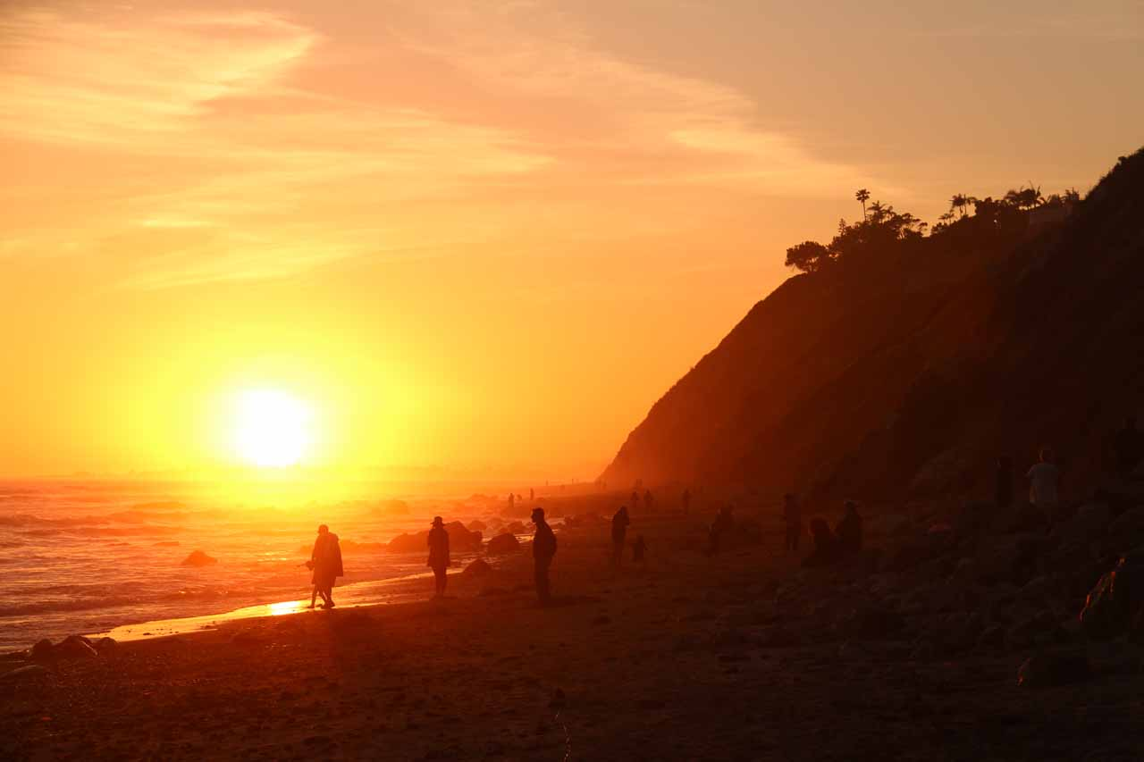 Watching the sun set at the Arroyo Burro Beach