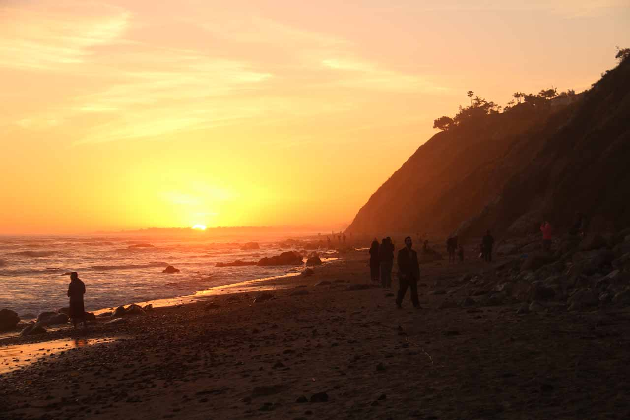Watching the sun set at the Arroyo Burro Beach
