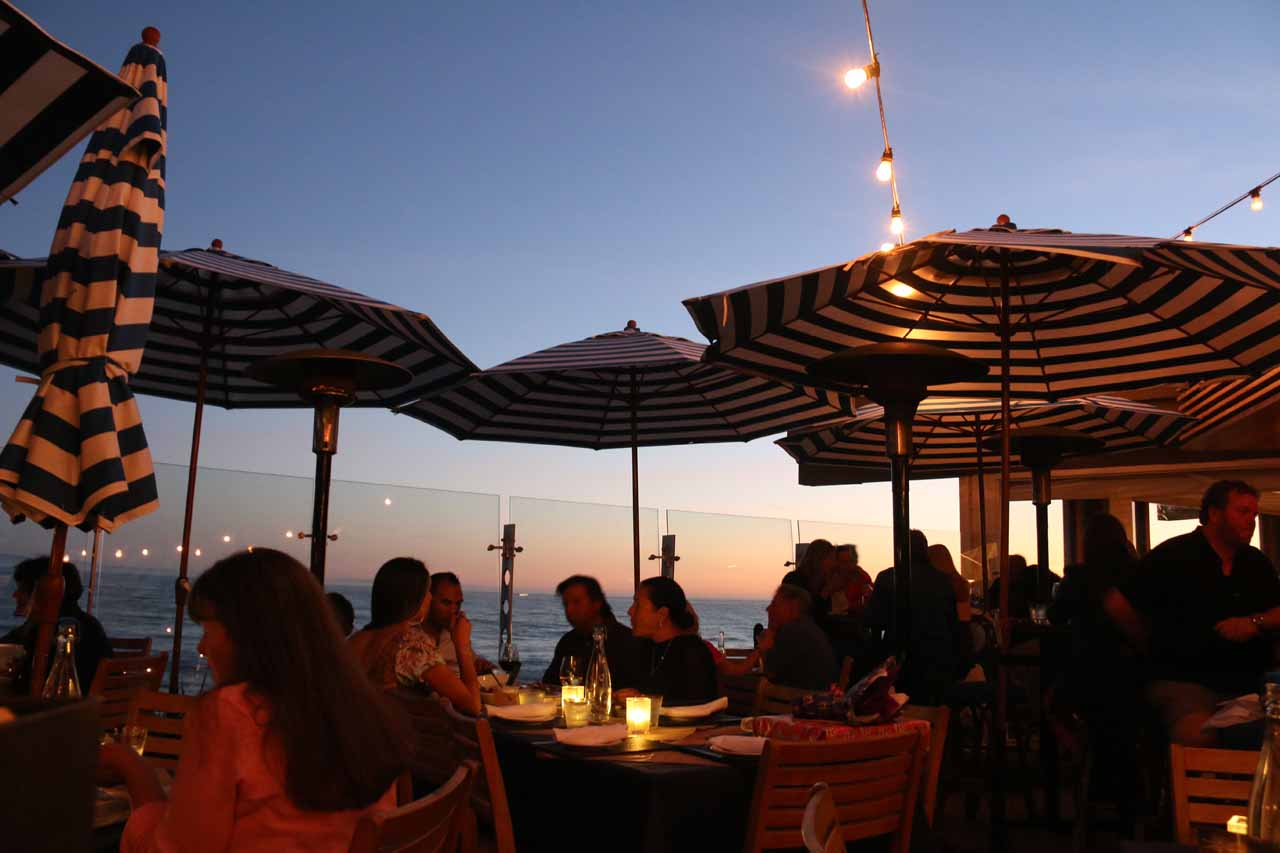 Dining in twilight at the Boathouse at Arroyo Burro Beach