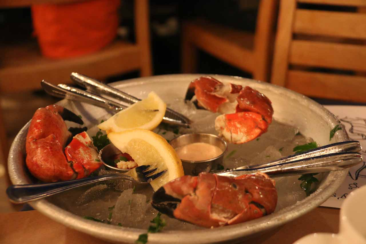 Cold crab claws served up at the Boathouse