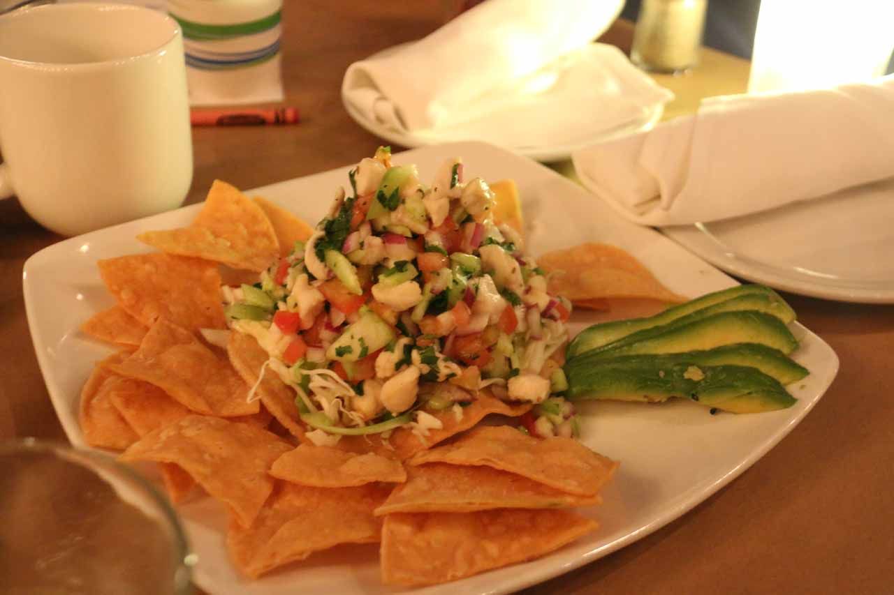 The ceviche of local fish served up at the Boathouse