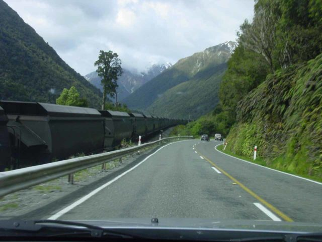 Arthurs_Pass_012_11212004 - This was the roadside view of the Arthur's Pass Highway while flanked by a long train hauling supplies (unscoring the importance of the Otira Viaduct further to the east of here)