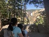 Artist_Point_009_iPhone_08022020 - Julie and Tahia enjoying this shaded view towards Lower Falls from Artist Point during our August 2020 visit to Yellowstone