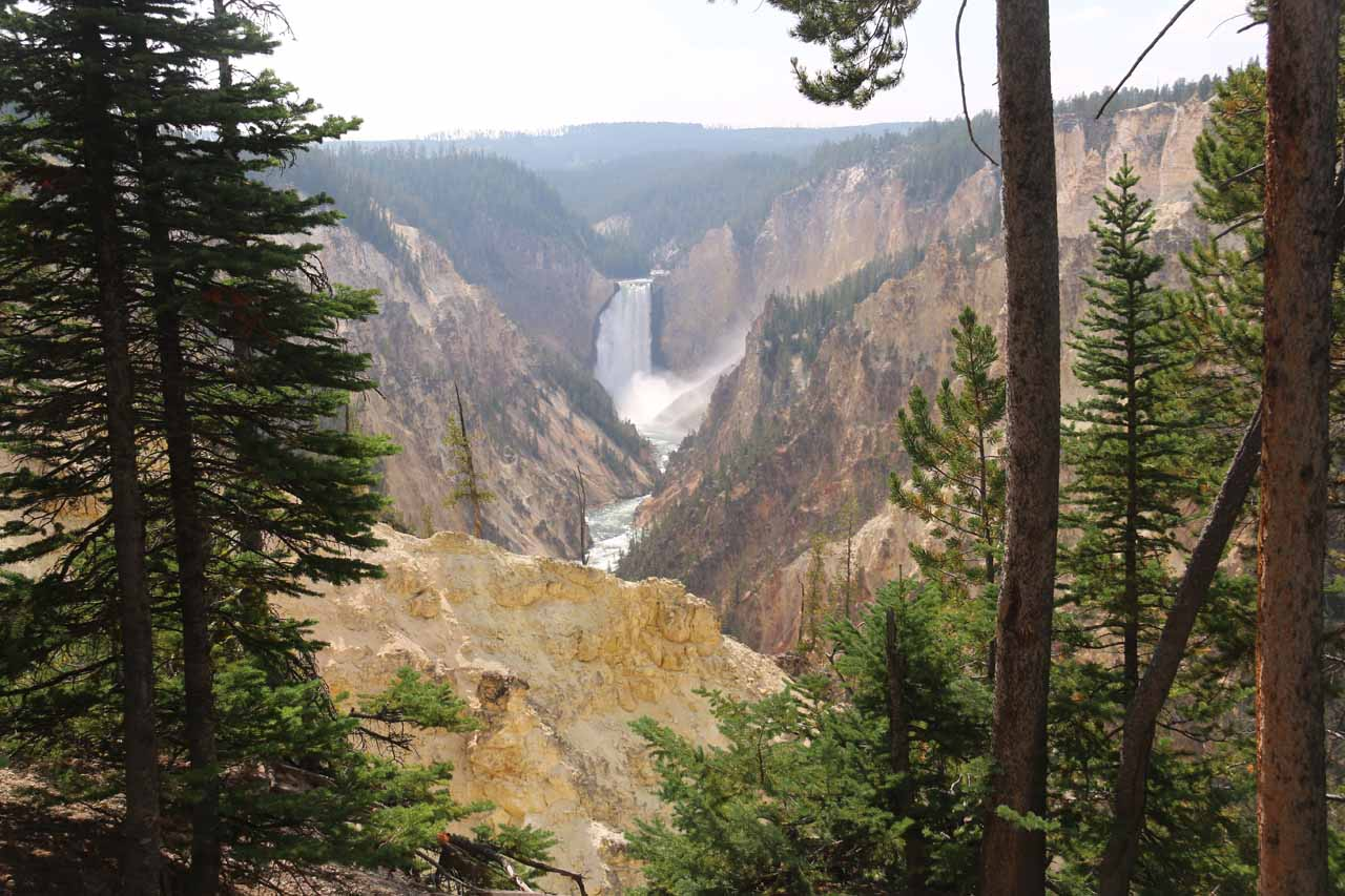 Framed view of Lower Falls of the Yellowstone River from Artist Point
