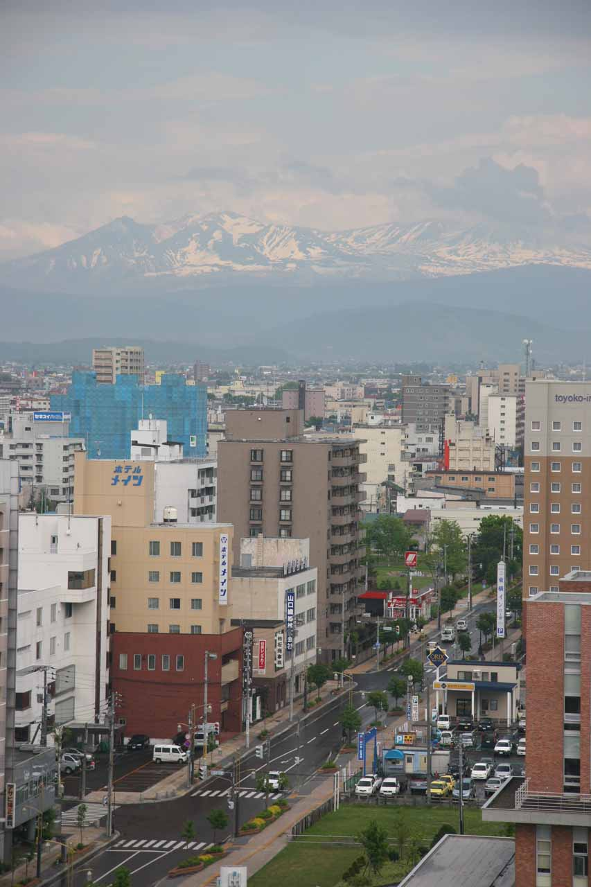 Looking towards the mountains of Daisetsuzan from our hotel room in Asahikawa