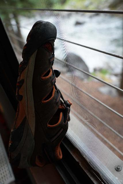 A futile attempt to try to dry off the Keen Arroyo II inside our condo overnight in Aspen, Colorado