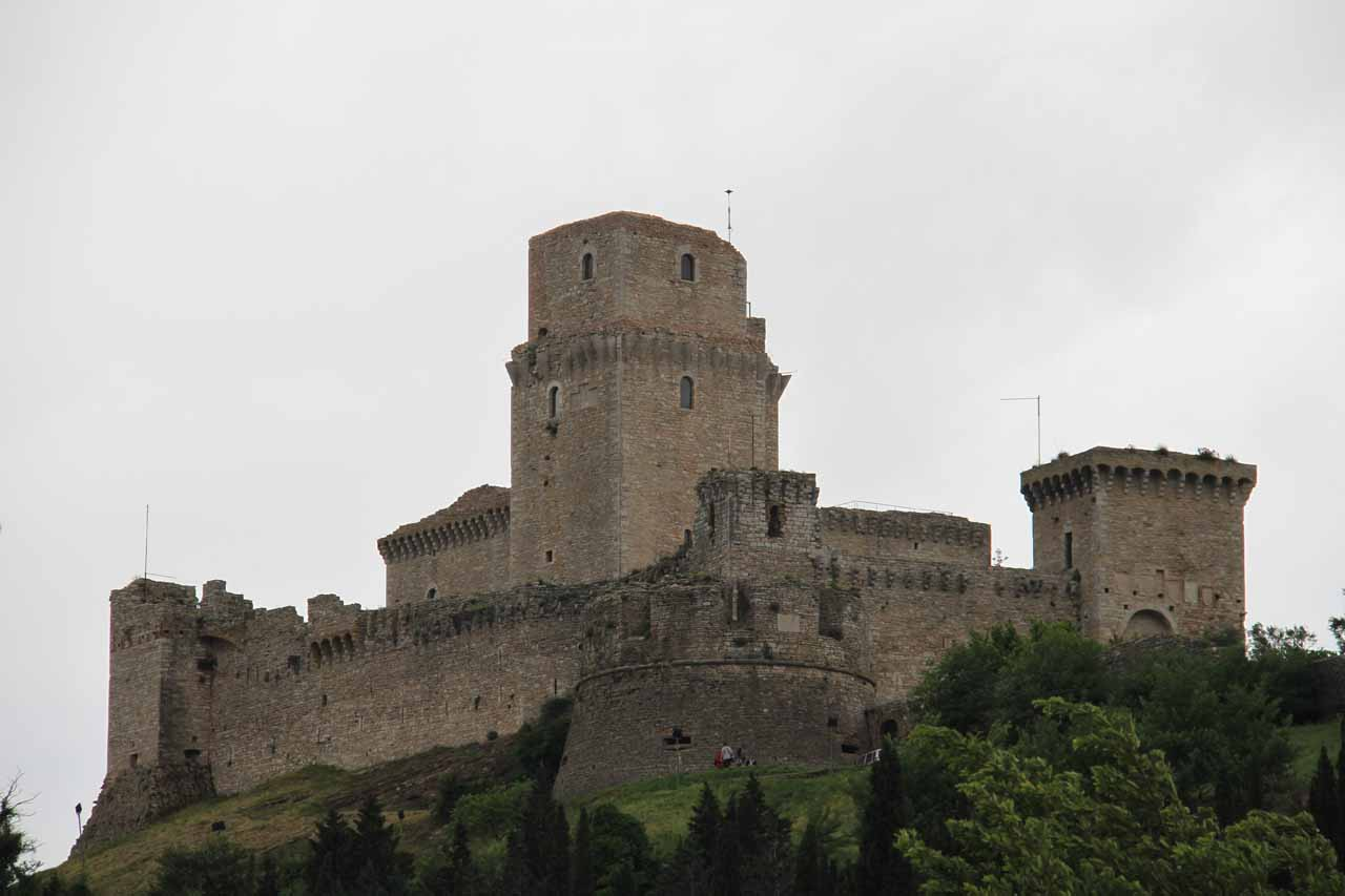 An attractive castle perched high up on a hill as we were entering San Francesco d'Assisi