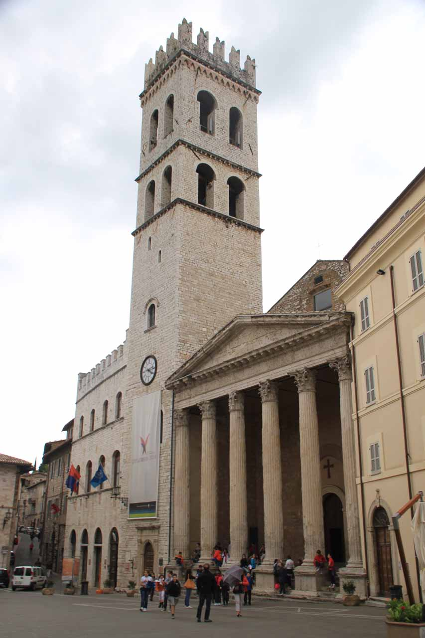 Some big clock tower in the main piazza at Assisi