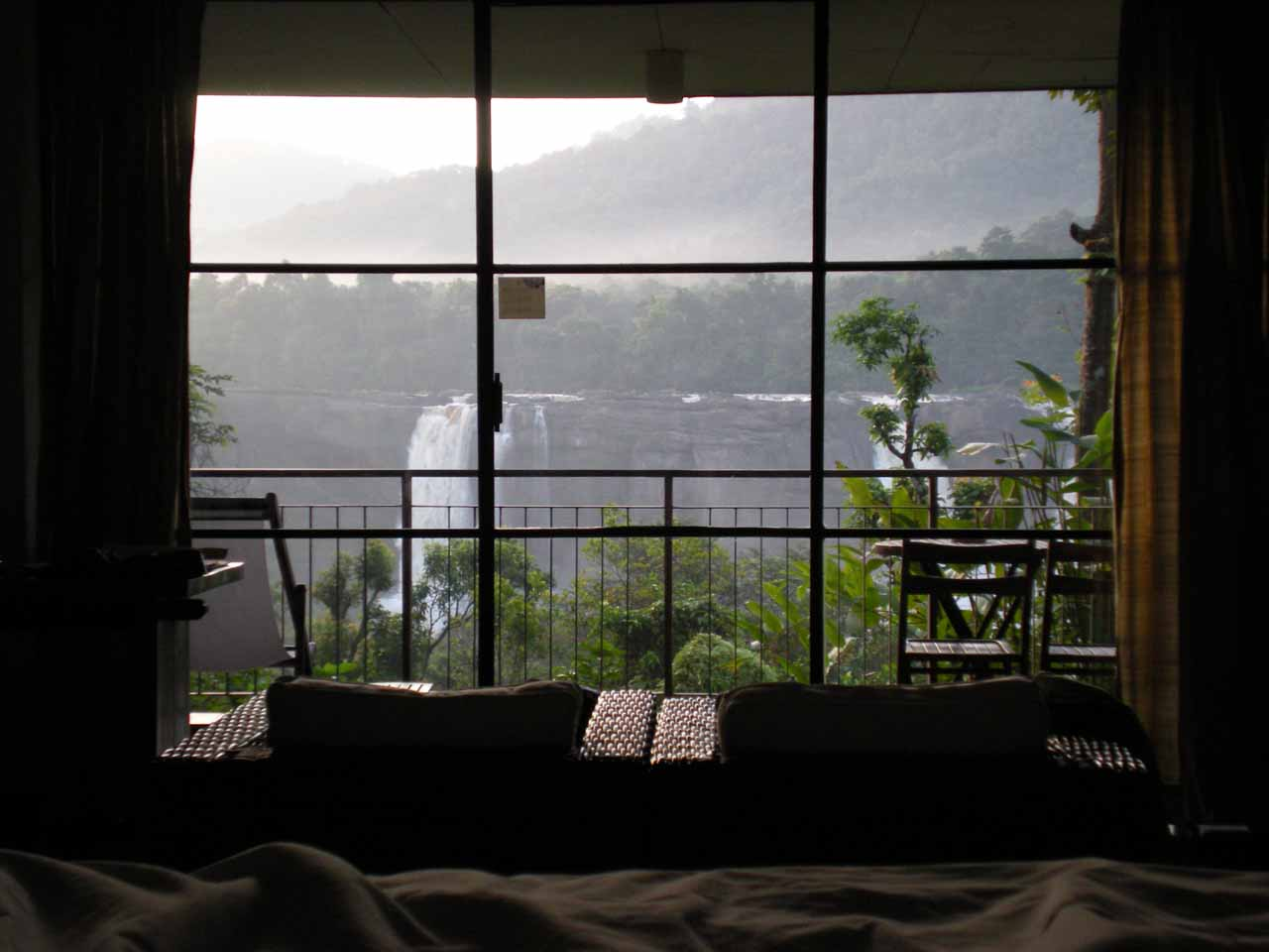 View of Athirappilly Falls from inside our room