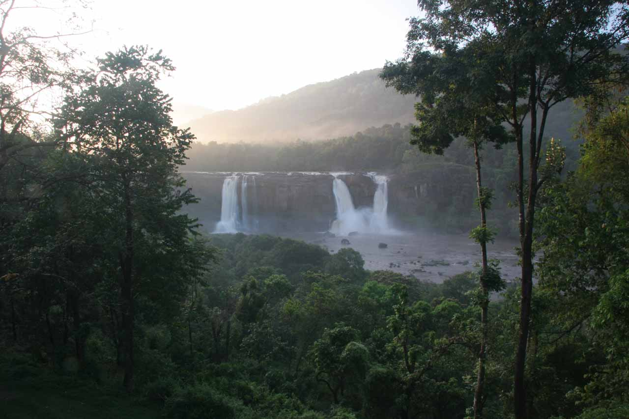 Distant view of Athirappilly Falls from the Rainforest Hotel early in the morning