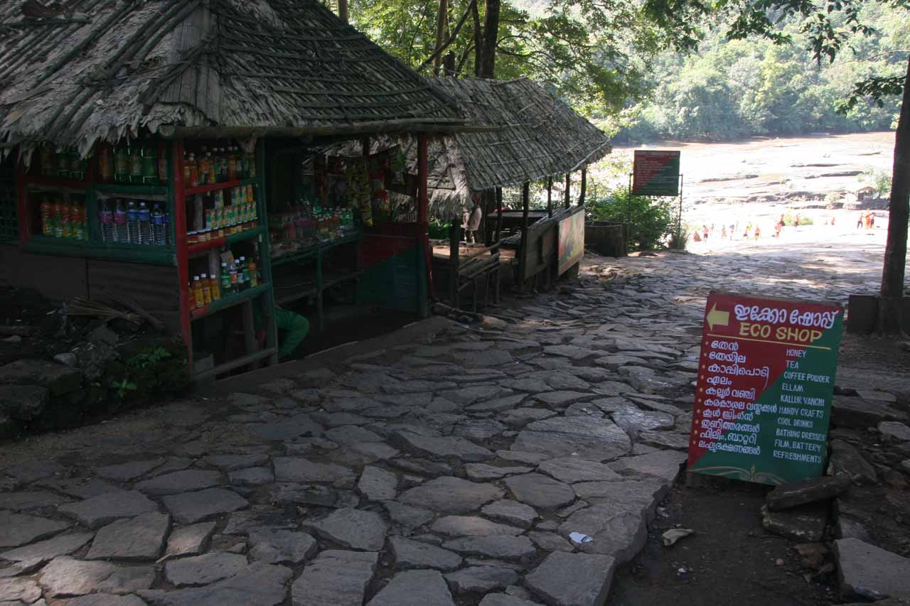 Some souvenir and refreshment stands located where the path branched into two
