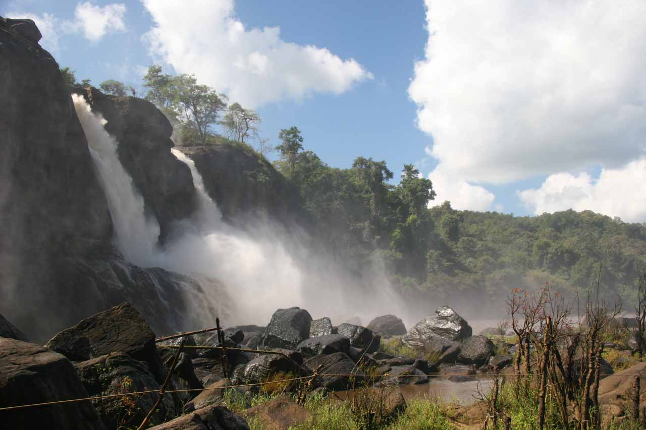 Profile view of Athirappilly Falls as we made it down to its base