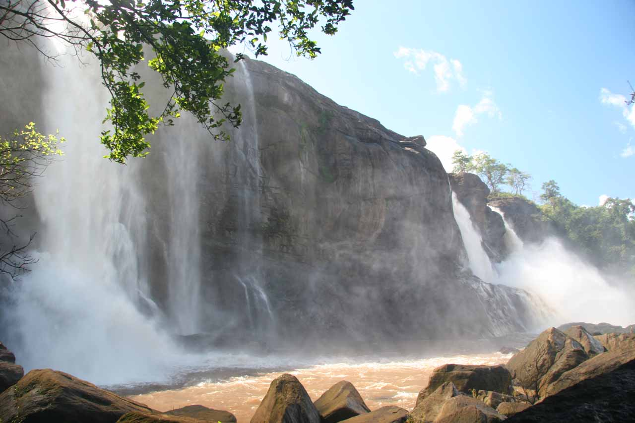 Approaching the misty base of the Athirappilly Falls