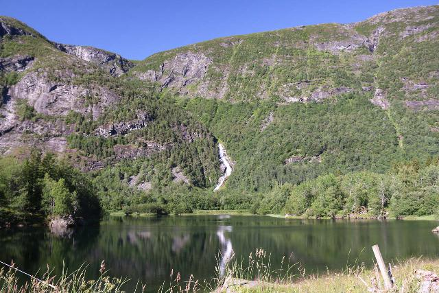 Aursjovegen_012_07162019 - Looking across the Litlevatnet towards the waterfall on Kjøtåa near the head of Eikesdalen on the way to Finnset