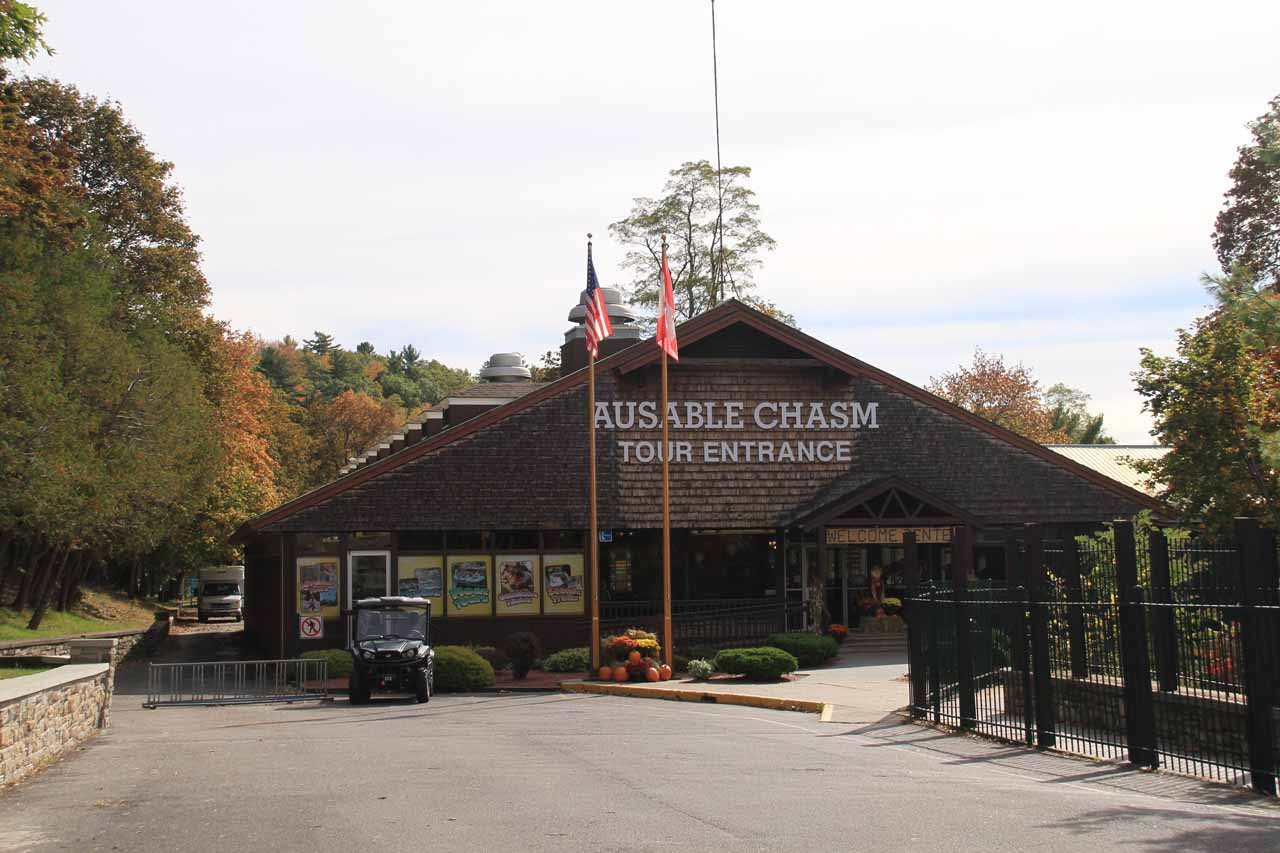 The entrance to Ausable Chasm's main building