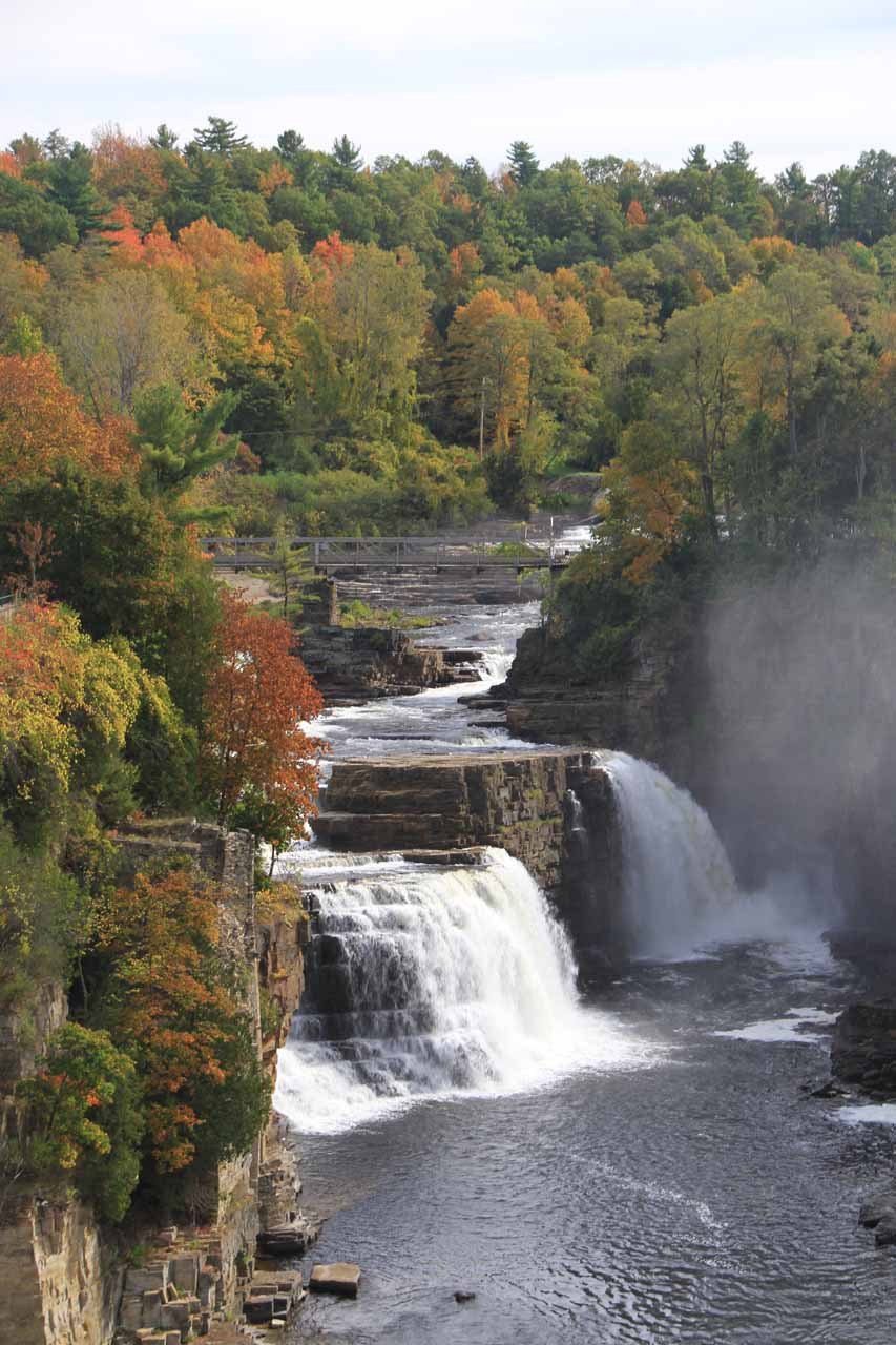 More naturesque look at Rainbow Falls with some beautiful Fall colors behind it
