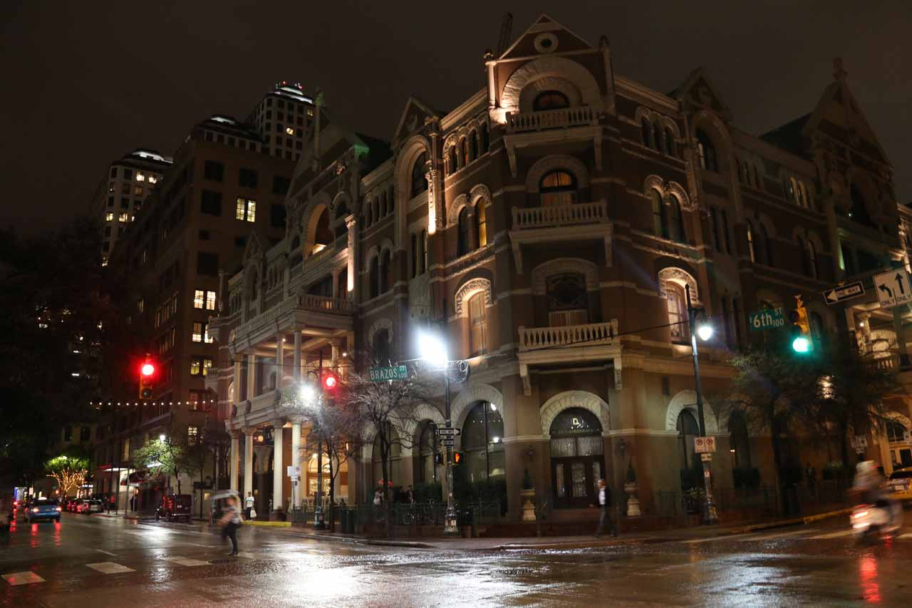 This fancy building was the historic Driskill, which was next door to the happening 6th Street District, where the night scene there reminded me a lot of the night scene in Nashville, TN
