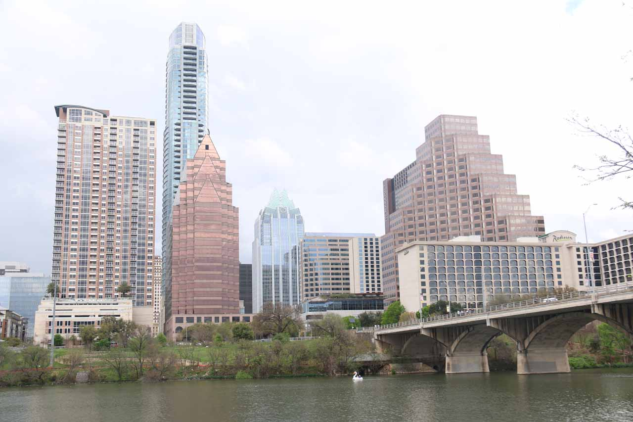 Even though I didn't get to see the mass feeding by the South Congress Avenue Bridge Bats (the bridge is shown here), the river walk was a great way to appreciate Austin's skyline across the Colorado