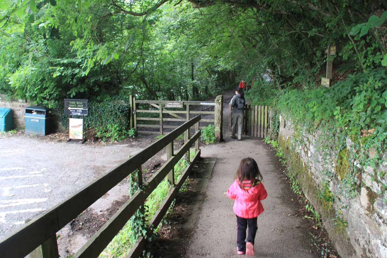 Julie and Tahia walking to the uppermost of the Aysgarth Falls