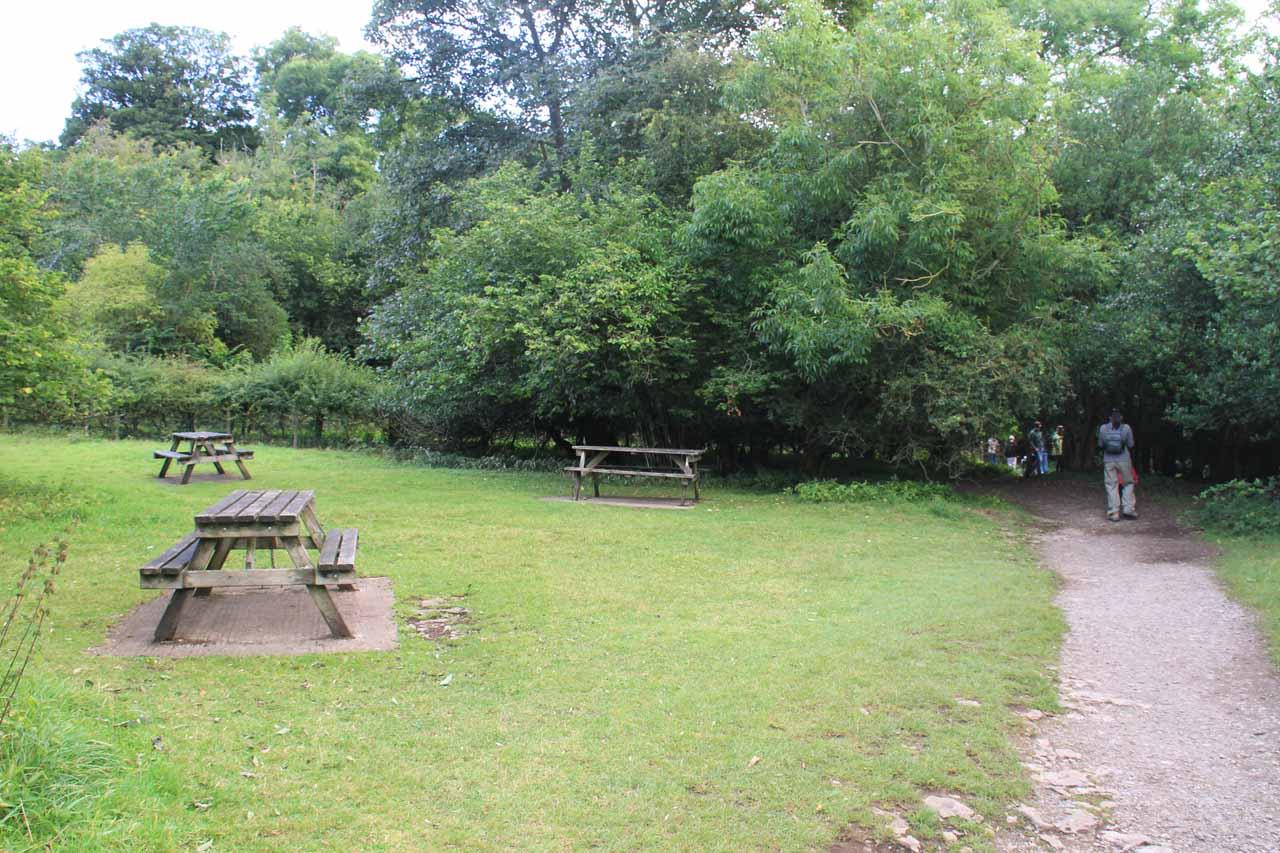 Picnic tables near the Upper Aysgarth Falls