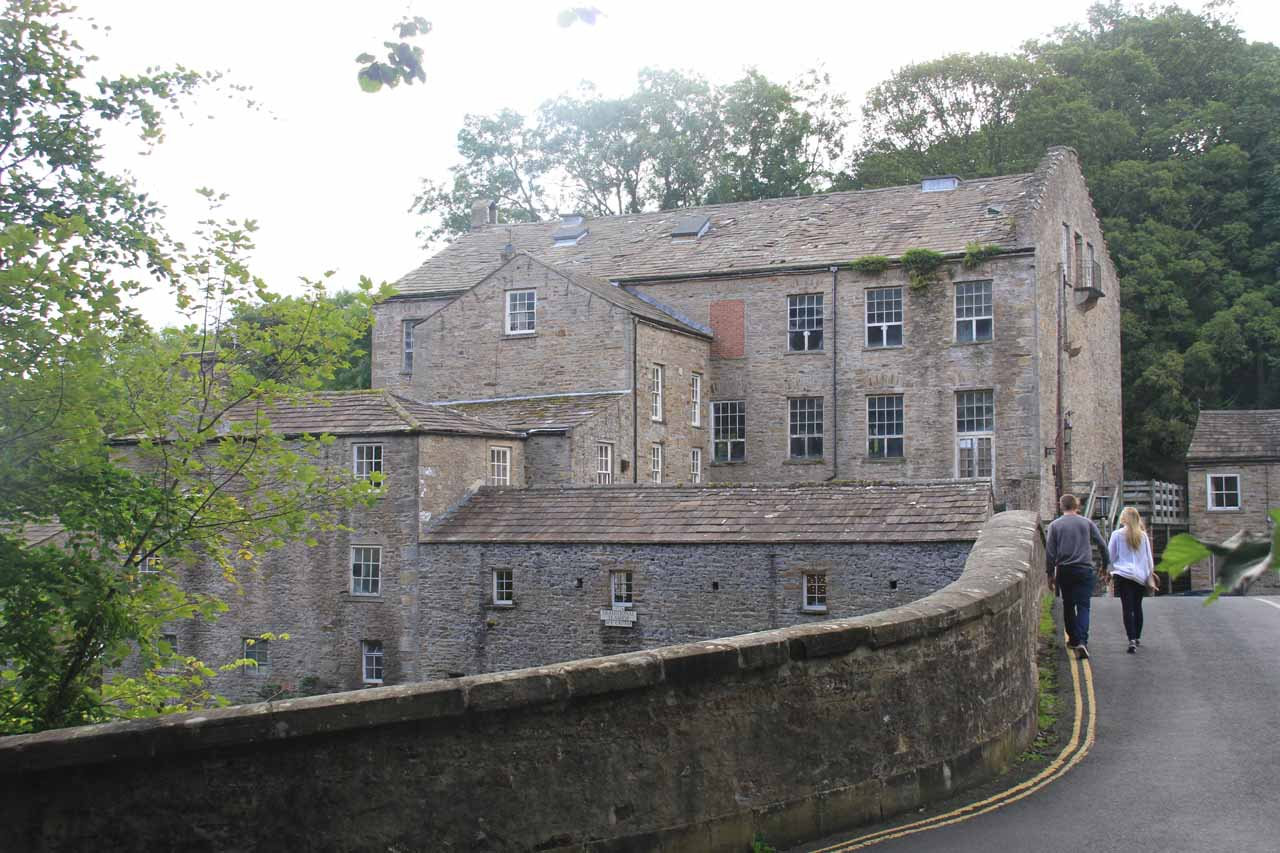 The bridge over the River Ure and buildings near the upper Aysgarth Falls