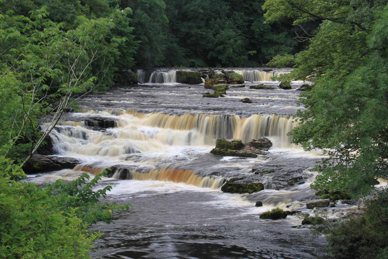 Looking upstream from the bridge towards the upper Aysgarth Falls