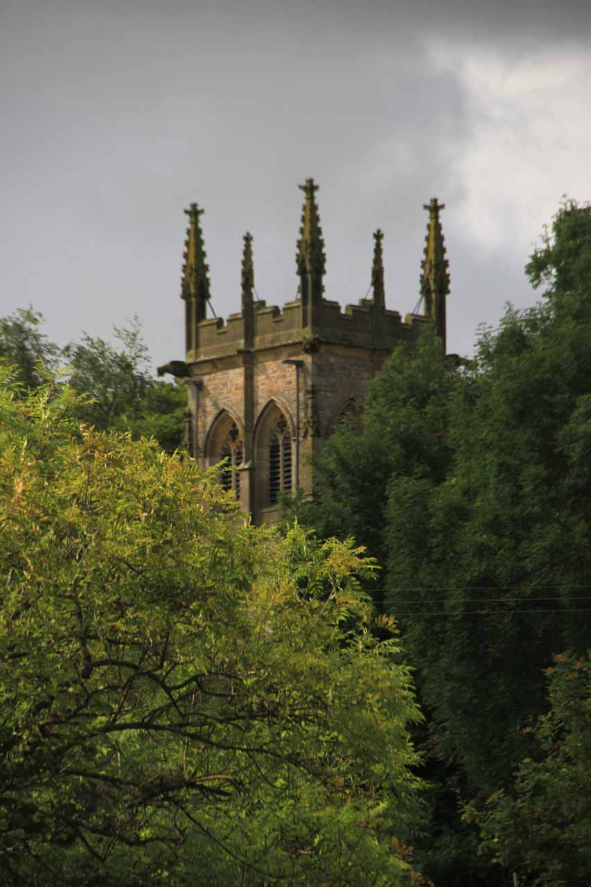 Across the River Ure at the Middle Falls, we noticed this intriguing church-like structure