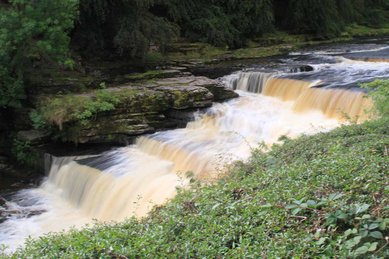 The series of cascades comprising the Lower Aysgarth Falls