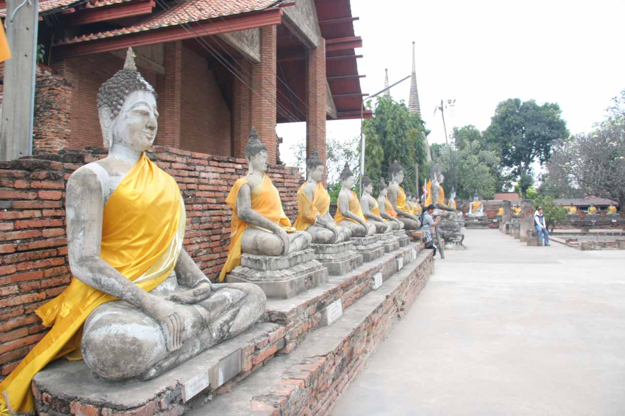 Smaller sitting Buddhas surrounding the complex