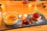 Bacharach_105_06162018 - This was the dessert of a medley of creme brulee with fruits and nuts and a tiny scoop of a sorbet of some sort courtesy of the Rhein Hotel in Bacharach