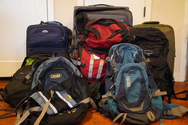 The packs and luggages that we still have - Costco Ricardo Luggages (2004-present), Samsonite Carry-on Luggage (2007-present), Camelbak Transalps (2004-2015), Camelbak Fourteener (2012-2015), Gregory Palisade (2002-present for overnight treks), Osprey Ozone 46 (2015-2019 + pending repair), and Osprey Manta 34 (2019-present). Not shown are the Camelbak Peak Bagger (2004-2011) and Osprey Poco Plus (2013-2015 for carrying our daughter around)