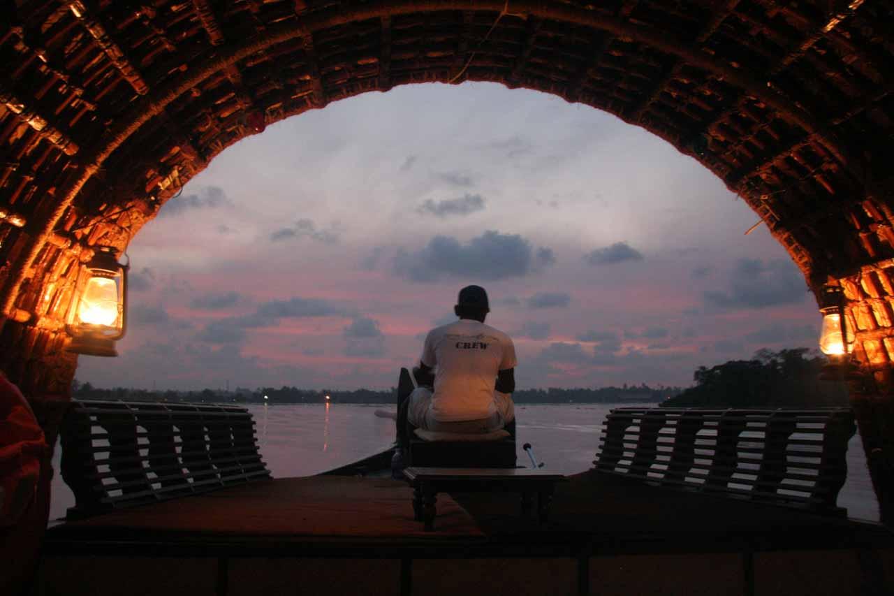 Boat driver as the sun has already set