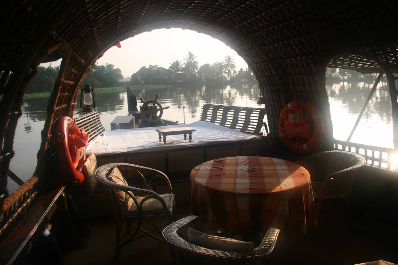 Dining area in steamy morning