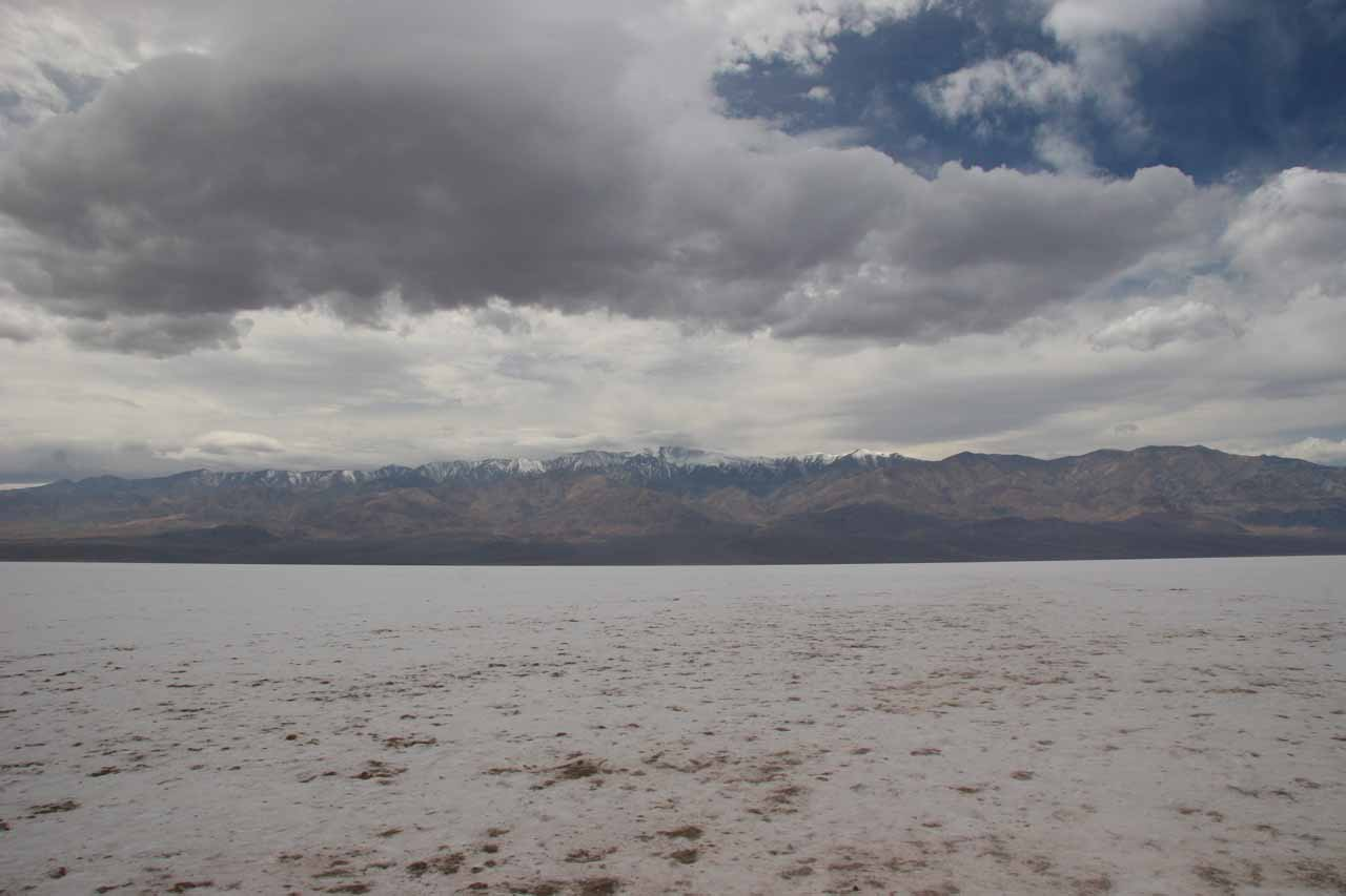 Looking across the vast salt flat at Badwater