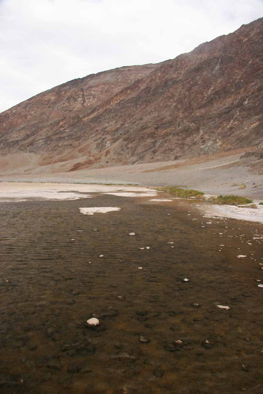 The remnants of standing water left at Badwater