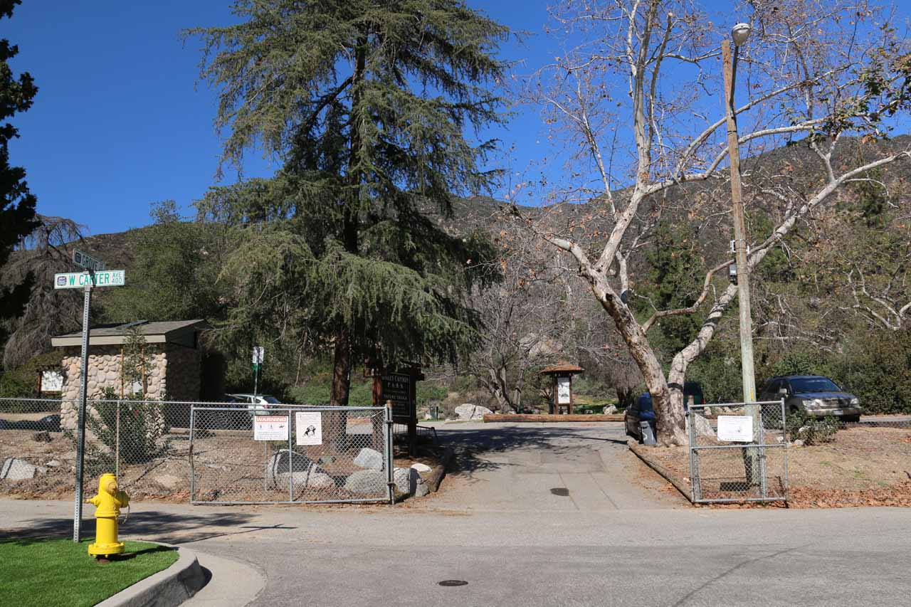 The gated entrance to Bailey Canyon Park at the north end of Grove Street