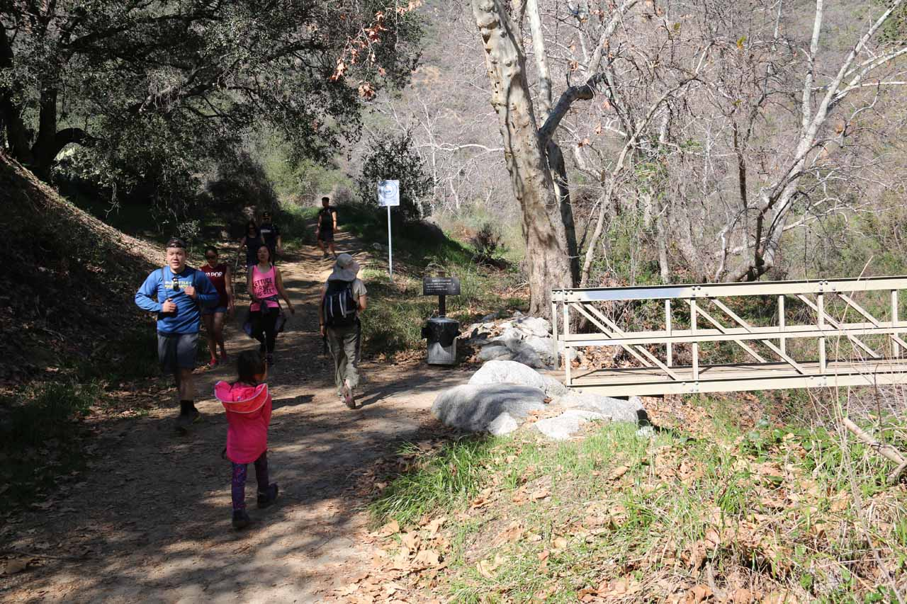 We kept left at this trail junction next to this bridge over the dry Bailey Creek. Note the number of people on this trail, which indicated to us how popular it can be