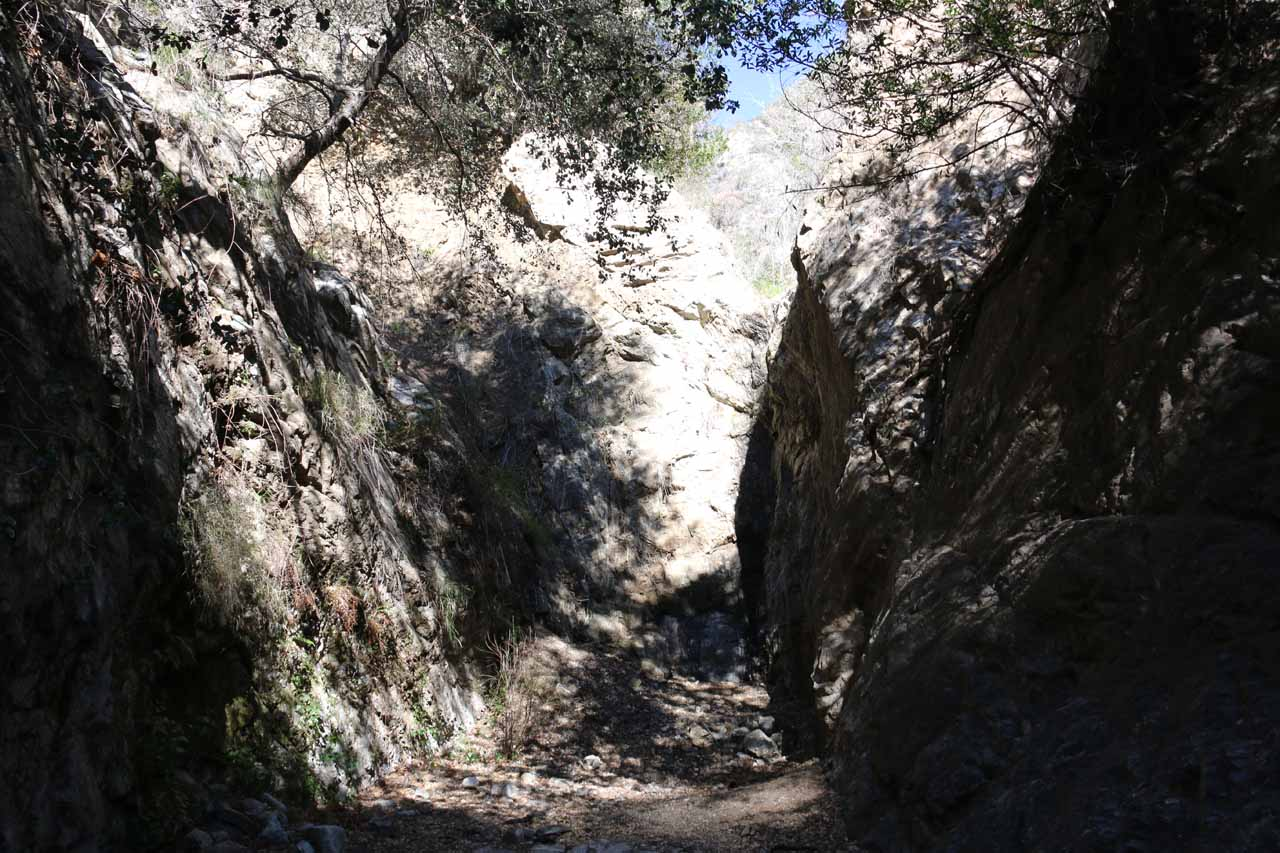 The dry Bailey Canyon Falls