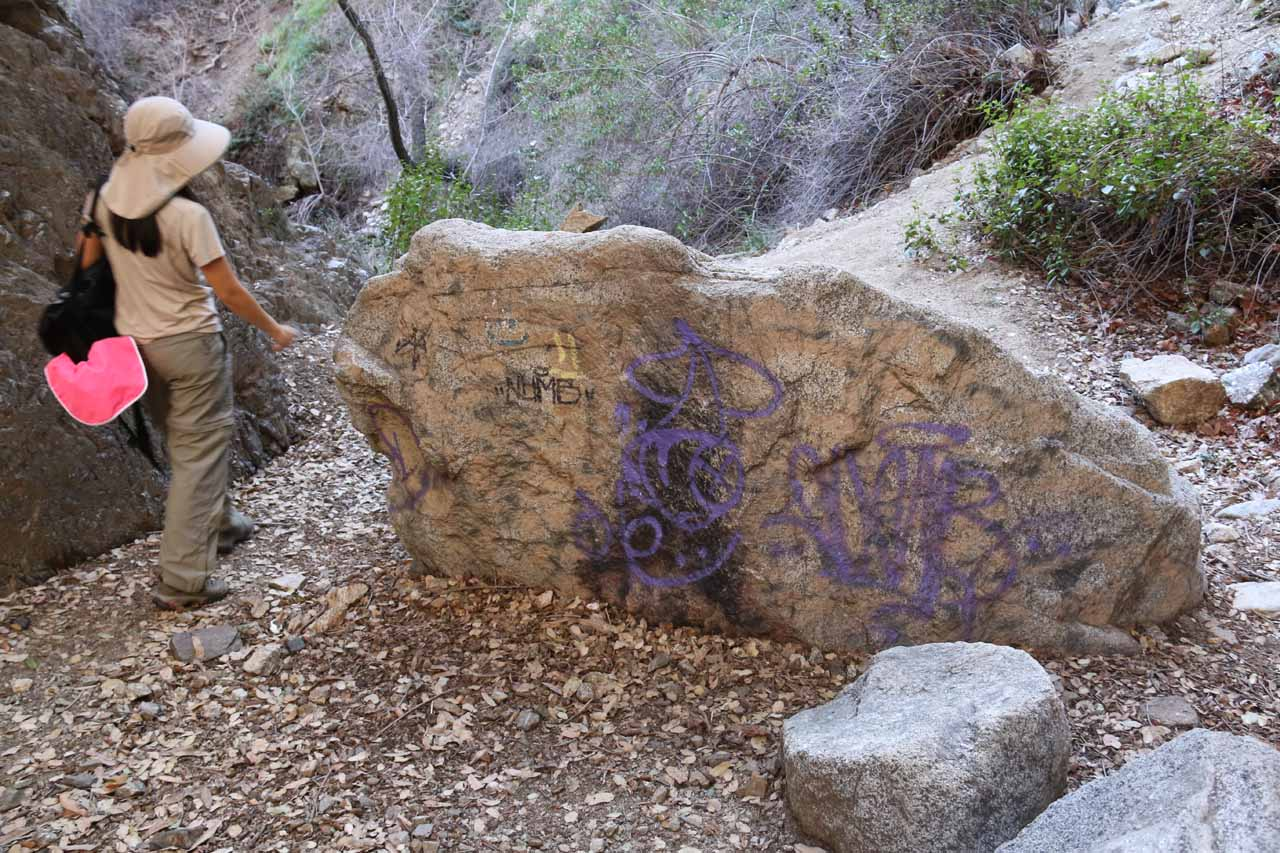 Graffiti on a rock just downstream of Bailey Canyon Falls