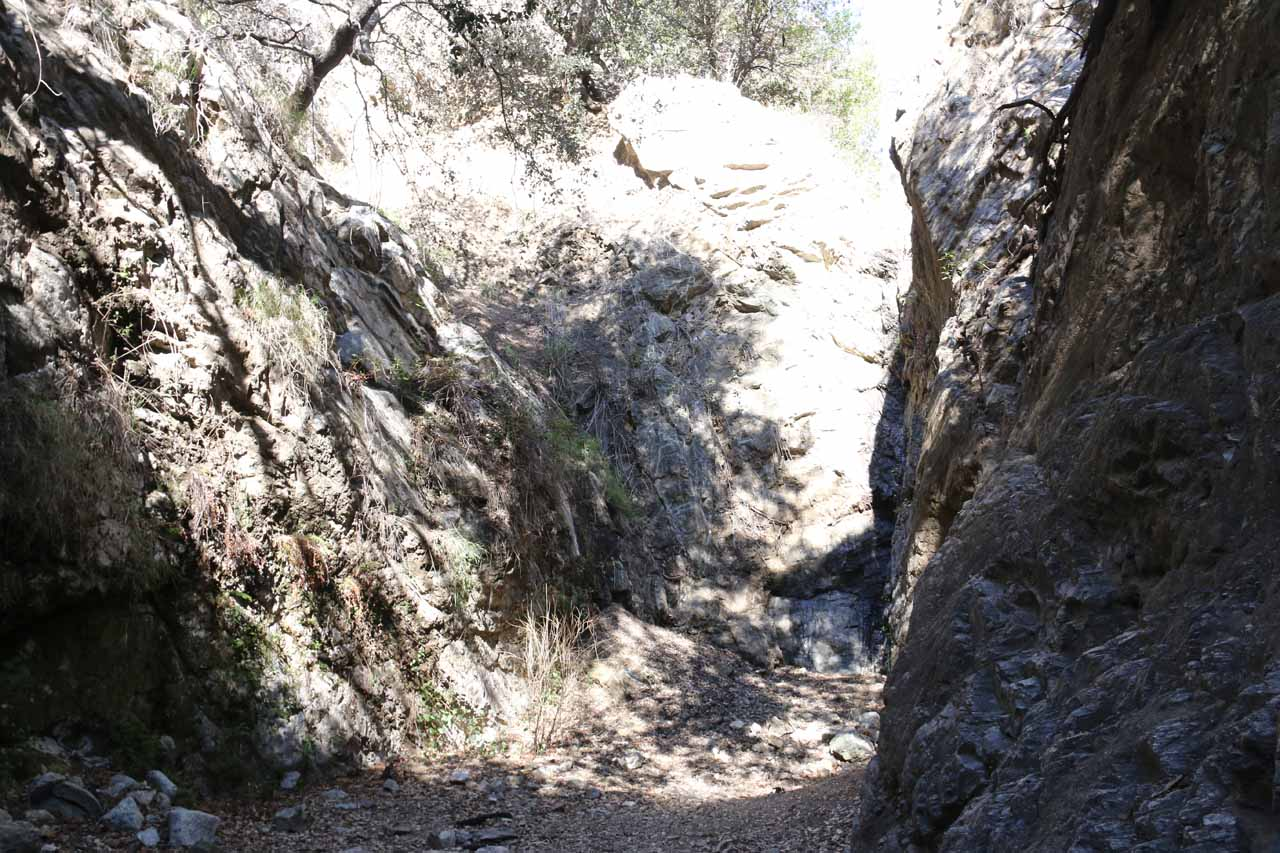 Finally at Bailey Canyon Falls, but unfortunately all we had to show for our efforts was a few wet streaks on this wall