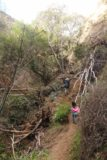 Bailey_Canyon_Falls_035_01212017 - Julie and Tahia getting around the landslide obstacle in Bailey Canyon