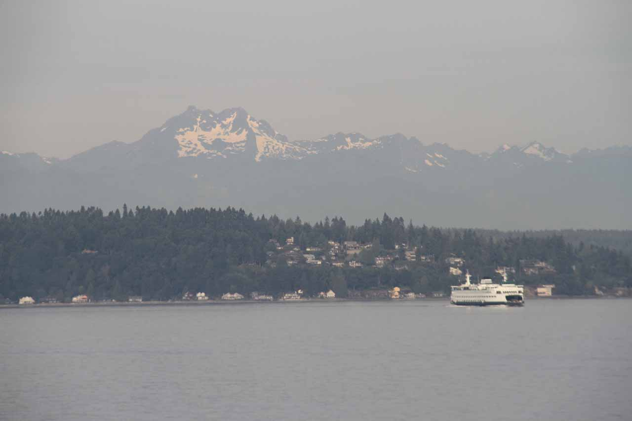 Looking towards Olympics with other ferry for scale