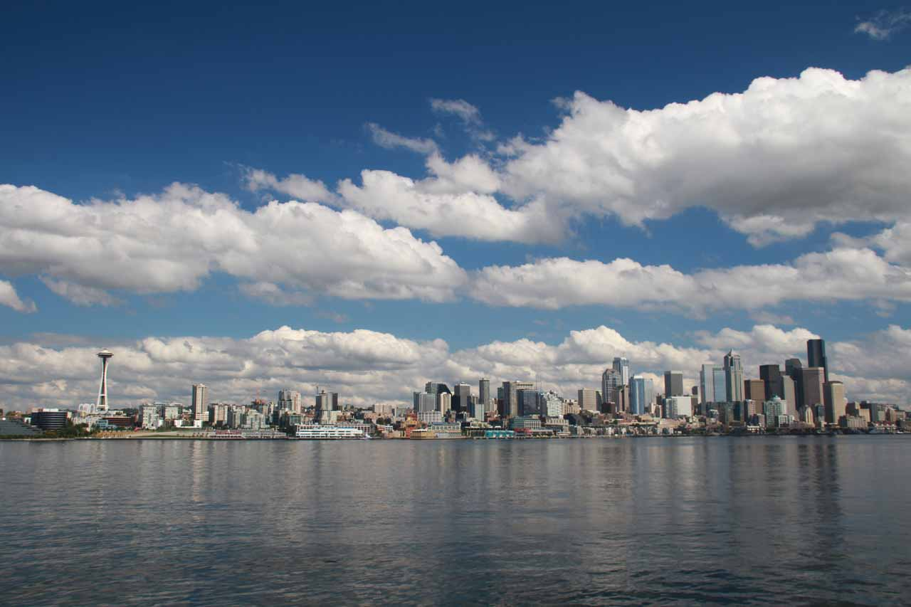 The Seattle Skyline as seen from the Bainbridge Island Ferry across Puget Sound, which we took to get to Rocky Brook Falls as well as the rest of the Olympic Peninsula