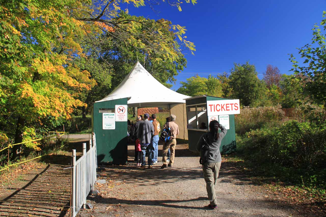 The ticket booth and entrance for the Balls Falls Festival, which would typically not be here for the rest of the year