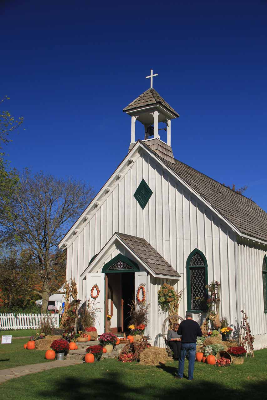 An interesting-looking church near the Balls Falls viewing area