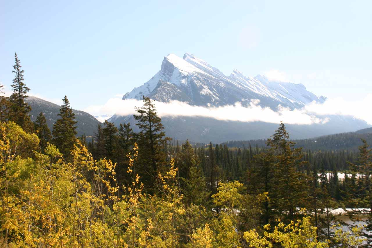 This is the view of Mt Rundle from the main highway (Hwy 1) on the morning after a clearing storm