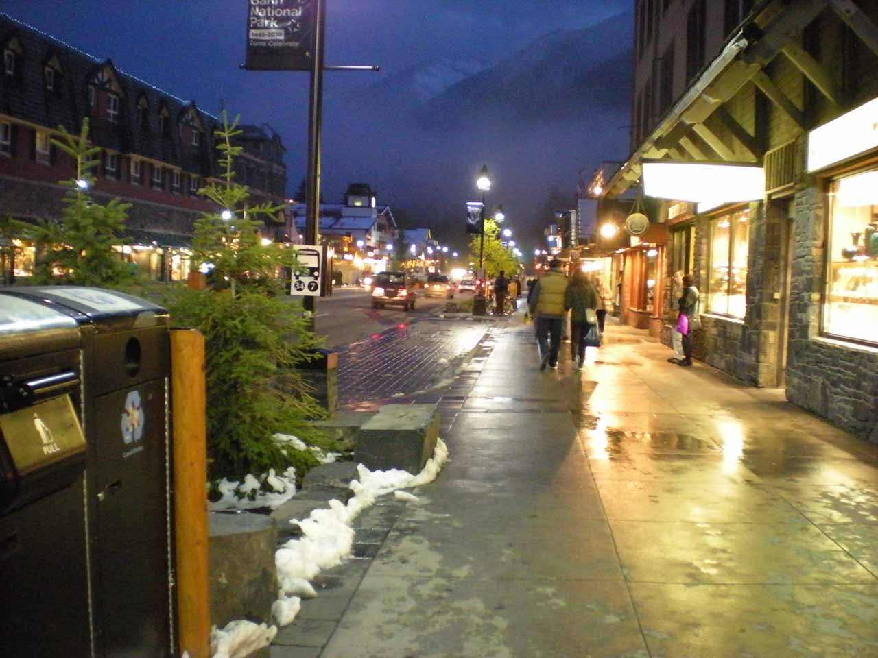 Residual snow still on the sidewalks as we had one last night in Banff Town