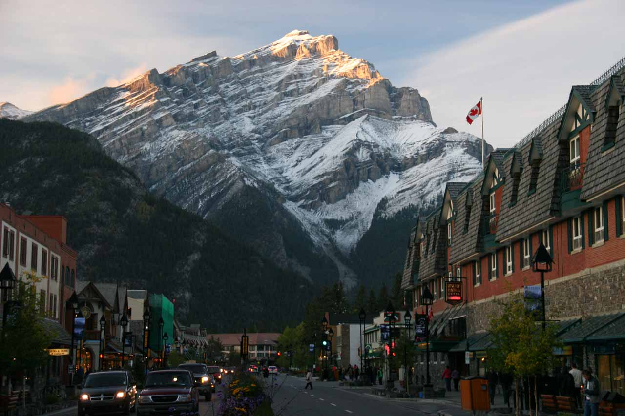 Also not far south of Silverton Falls was the scenic town of Banff where dramatic mountains can be seen rising against the town when the weather permits