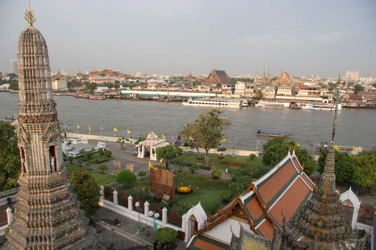 Looking across the river from the upper balconies of Wat Arun